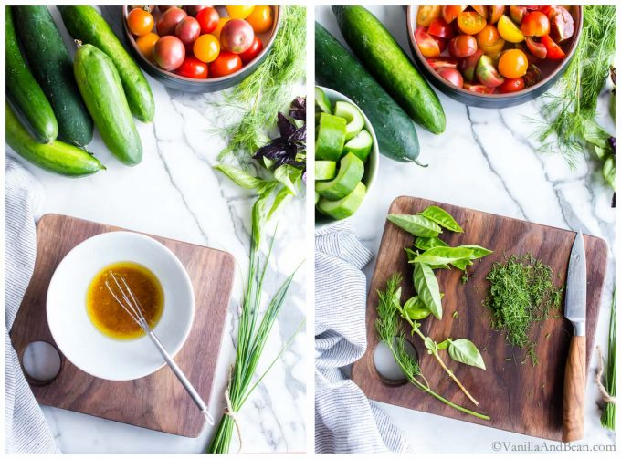 1. Whisking red wine dressing in a bowl. 2. Dill and basil on a cutting board.