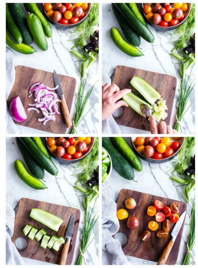 1. Sliced onions on a cutting board. 2. Scraping seeds from the flesh of a cucumber. 3. Cut cucumber on a cutting board. 4. Sliced tomatoes on a cutting board.