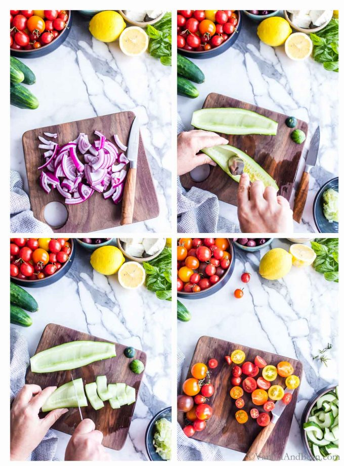 1. Cutting red onions on a cutting board. 2. Scraping out the seeds of a cucumber. 3. Slicing the cucumber in large chunks on a cutting board. 4. Slicing cherry tomatoes on a cutting board.
