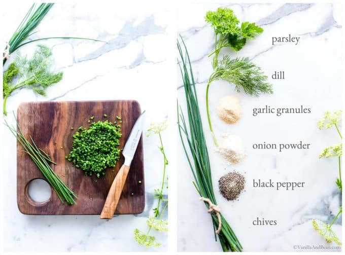 1. Chives on a cutting board being sliced. 2. Ingredients for Vegan Ranch Dressing with labels.