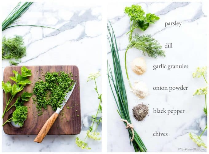 1. Chopped parsley on a cutting board. 2. Image and text of seasoning and herb ingredients for Ranch Dressing with Yogurt.