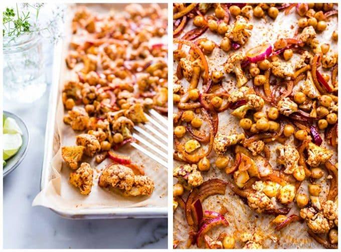 1. Roasted harissa cauliflower and chickpeas on a sheet pan. 2. Overhead shot of roasted harissa cauliflower and chickpeas on a sheet pan.