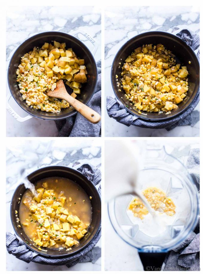1. Corn, spices and potatoes in a Dutch oven with a spoon. 2. Sauteed veggies in a Dutch oven for veggie corn chowder. 3. Pouring veggie broth over the corn chowder veggies in a Dutch oven. 4. Mixing the milk with part of the vegetarian corn chowder in a blender.
