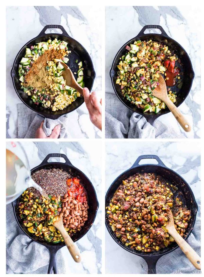 1. Adding spices to the skillet of veggies. 2. Adding tomato paste and adobo sauce to the quinoa recipe vegetarian. 3. Pouring water over the ingredients in a skillet. 4. Stirring all the ingredients for the vegetarian Mexican Quinoa Recipe.