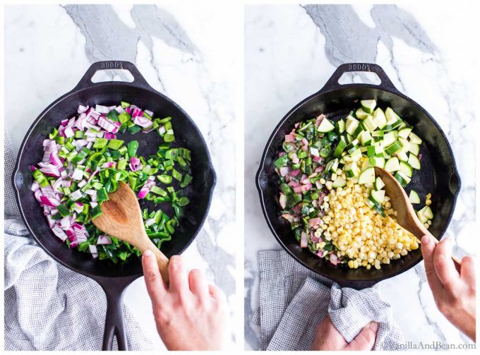 1. Sauteing onions and poblanos in a cast iron skillet. 2. Sauteing the corn and zucchini mixture in a skillet for a quinoa Mexican recipe.