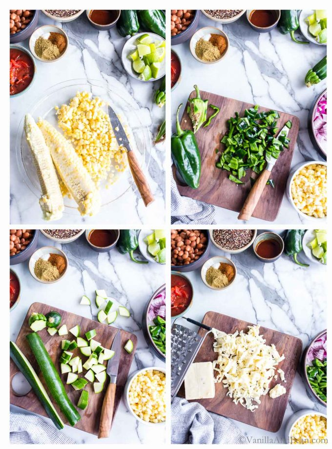 1. Corn cobs in a pie plate with niblets sliced off. 2. Diced poblano pepper on a cutting board. 3. Diced zucchini on a cutting board preparing for a Quinoa Meal. 4. Shreded cheese on a cutting board preparing for this quinoa recipe vegetarian.