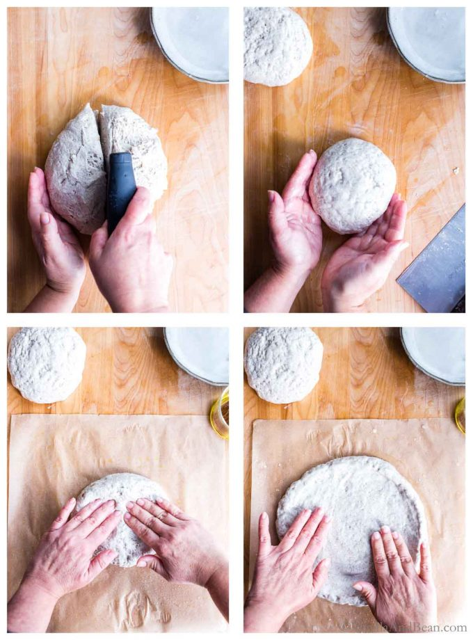 Four images of gluten free pizza dough being cut and shaped.
