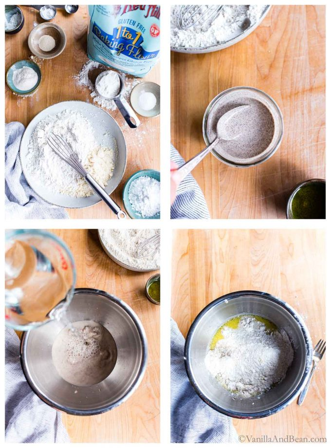Four images of mixing flour, spooning out sourdough discard, pouring water into a bowl and adding the flour to the bowl.