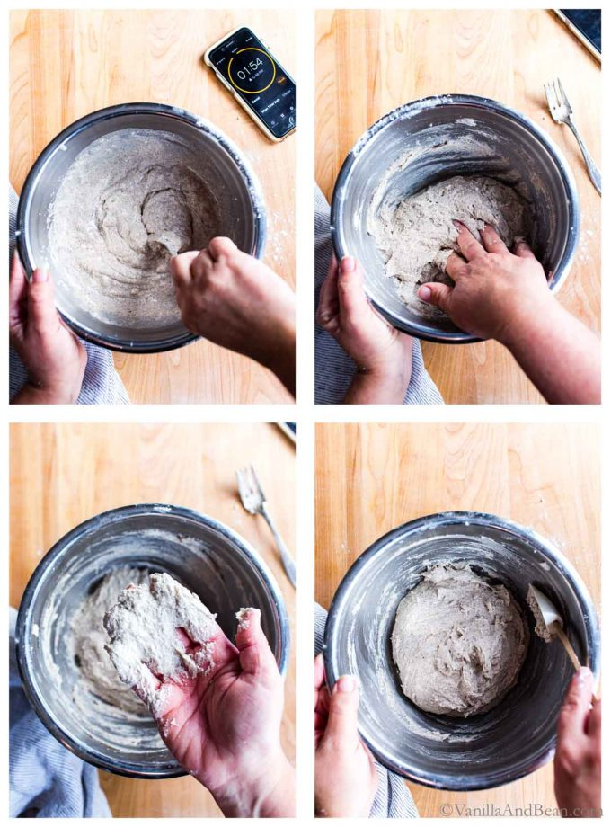 Four images of sourdough pizza dough being mixed in a bowl.